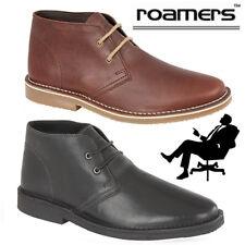 Roamers Mens Leather Desert Boots Gents Smart Casual Combat Shoes Black Brown