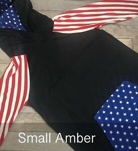 LuLaRoe Amber Hoodie American Summer Small S Stripe Unicorn HTF Red Solid Stars
