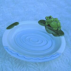 Frog Soap Dish White Oval Porcelain Figurine Lily Pad