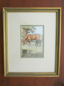 Framed Cecil Aldin Print of Horses Horse Mare and Foal