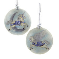 "S3941 Kurt Adler Set/2 4"" Unicorn Pegasus Capiz Disc Christmas Ornament Mythical"