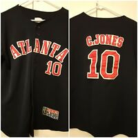 Vintage Chipper Jones #10 MLB Atlanta Braves Jersey Blue Stitched Size M Button