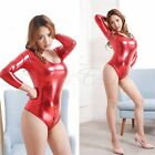 Sissy Women's One Piece Shiny Leather High Cut Bodysuit Catsuit Leotard Clubwear