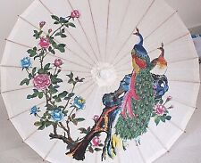 JAPANESE WHITE PAPER PARASOL CHINESE PEACOCK PEONY WEDDING FANCY UMBRELLA B4