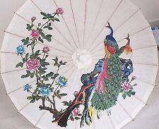 LIBRO bianco giapponese PARASOLE Cinese Pavone Peonia Matrimonio Ballo Ombrello B2