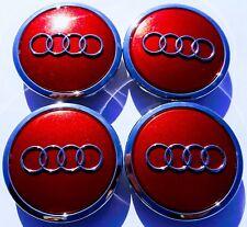 4 AUDI 4B0601170A Felgendeckel Nabenkappen Nabendeckel 4B0 601 170A rot-chrom-gl