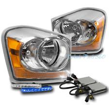 04-05 DODGE DURANGO CRYSTAL HEADLIGHTS LAMP CHROME W/BLUE DRL LED SIGNAL+HID KIT