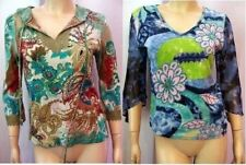 FORBIDDEN Lot of 2 BOHO Floral Beaded Paisley Crochet Peasant Top Hoodie Tunic M
