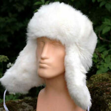 Schapka Kaninchenmütze weiß XL Fellmütze Fliegermütze Wintermütze Mütze neu