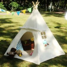 Indian Teepee Play Tent Kids Canvas Playhouse Children Sleeping Dome Huge White