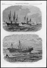 1865 Antique Print - NORFOLK Sherringham Amphion MALAYSIA Singapore Rhio  (276)