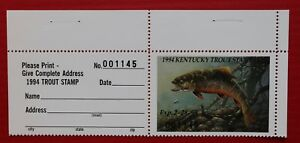 CLEARANCE (KYT24T) 1994 Kentucky Trout Stamp with tab