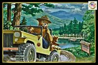 "Classic Smokey Bear! 8""x12"" All Weather Metal Log Cabin Decor Rustic Distressed"