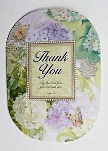 *PUNCH STUDIO Set of 6 Thank You Blank Note Cards ~Floral~ Butterflies~Hydrangea