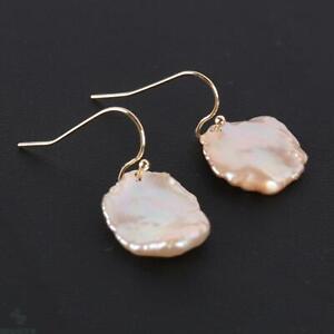 13x16mm Natural color baroque pearl Earring 18k Ear Drop Gift Women Fashion