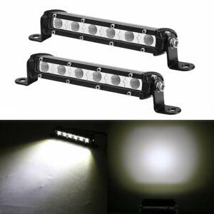 "1 Pair 7""inch Work Lights CREE Flood LED Slim Light Bar Reverse 4WD 12V 24V"