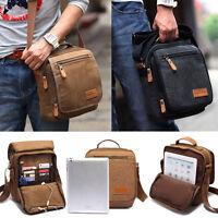 Men's Shoulder Bag Crossbody Canvas Leather Satchel Military Messenger Handbag
