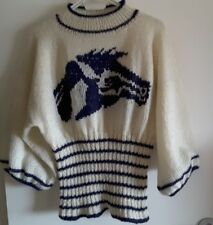 NEW MANOS DE ORO FOR LAFAYETTE PARIS BONE & NAVY HORSE JUMPER size S