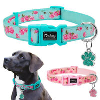 Personalised Floral Nylon Pet Dog Collars and Anti-lost Tag Engraved Pink Green