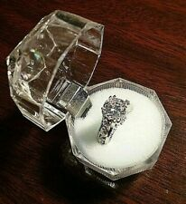 Pattern White Gold / Rose Gold Engagement Ring Simulated Stone 6 Classic flower