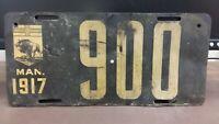1917 Manitoba #900  License Plate Tag