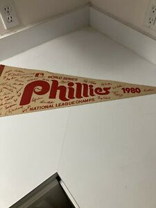 1980 PHILADELPHIA PHILLES WORLD SERIES NATIONAL LEAGUE CHAMPS PENNANT. USED