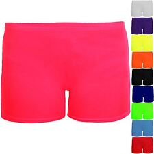 Girls Cotton Lycra Stretch Gym Gymnastics Dance Children's Neon Hot Pants Shorts