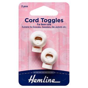 Hemline 6mm White Cord Toggles 2 Pack