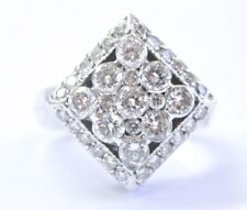 18Kt Round Cut Diamond White Gold Square Bubble Ring 1.32Ct