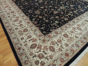 12x18 RARE Palace oversize Oriental Area Rug SILK black beige wool hand-knotted