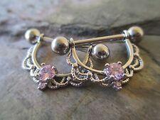 Pink CZ Crystal Nipple Ring Shield Piercings Silver IP