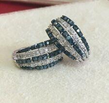 Sterling Silver White Blue Round Natural Diamond Hoop Huggie Earrings 1.78 Ct