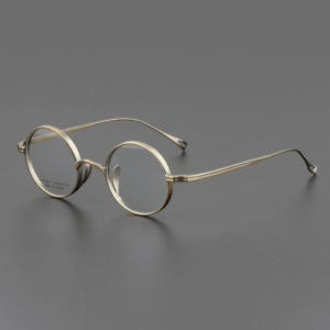 Japan Collecting Small Round Retro Glasses Pure titanium Eyeglass Frames Gold