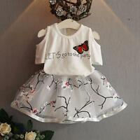 Summer Kid Infant Girl Yarness Party Dress Outfit Shirt Tops+Tutu Skirt 2PC Set