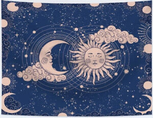 """NEW 60"""" x 40"""" Sun Moon Stars and Clouds Blue & Peach Tapestry Wall Decor"""