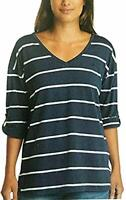 Nautica Womens V-Neck Top with Roll Tab Tee, Navy Seas, Large