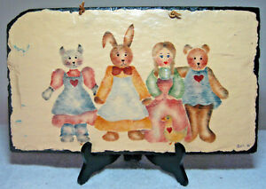 Vintage Hand-Painted Slate Picture Country Style Stenciled Girl with Toy Animals