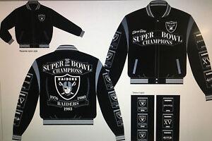 Oakland RAIDERS Three Time SUPER BOWL CHAMPIONS Reversible Wool Black Jacket-NFL