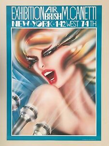 M.CANETTI,AIR BRUSH,EXHIBITION,NEW YORK,AUTHENTIC 1980's POSTER
