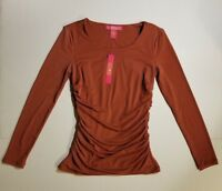 CATHERINE MALANDRINO RED CASSIS CREW NECK RUCHED LONG SLEEVE TOP XS S MSR$68 NWT