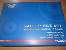 CORGI AVIATION 1:72 RAF NO 1 SQN 4 PIECE SET HURRICANE, METEOR, HUNTER, HARRIER