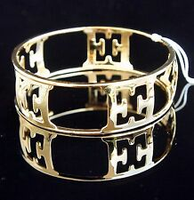 Escada Bangle Bracelet With Leather Box Sterling Silver 925 Gold Plated New