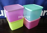 Tupperware Freezer Square Rounds 800ml Container Set of 4 Pink Lilac Rare New