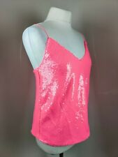 New Asos Women's Pink Sequin Top Spaghetti Strap V Neck Party Occasion Blogger 8