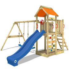WICKEY Spielturm Doppelschaukel MultiFlyer Sandkasten Holz Kletterturm Garten