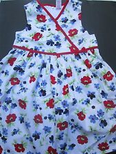 ❤ Gymboree girl dress 8 9 10 floral red navy white Patriotic vintage FREESHIP