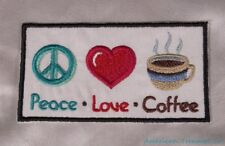 Embroidered Peace Love Coffee Symbols Motivation Message Patch Iron On Sew USA
