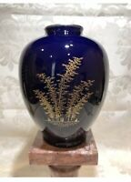 FUKAGAWA ORIENTAL ASIAN PORCELAIN COBALT BLUE GOLD VASE PERFECT, 6 1/2""