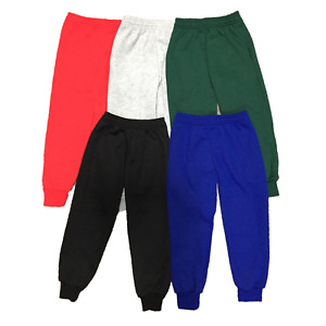 Boys Plain Jogging Bottoms Warm Fleece PE Joggers Kids School Sports Trousers
