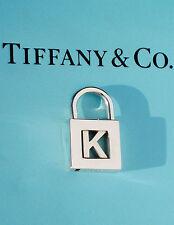 """Tiffany & Co Argento NOTE Iniziale Alfabeto """"K"""" Lucchetto Ciondolo SOLO apertura laterale"""